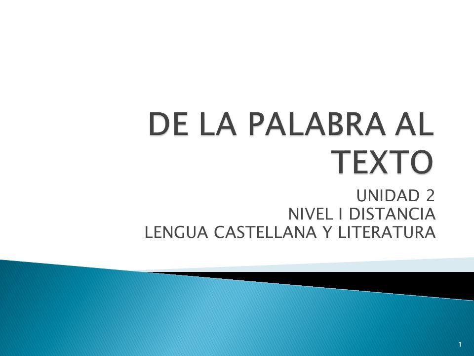 UNIDAD 2 NIVEL I DISTANCIA LENGUA CASTELLANA Y LITERATURA 1