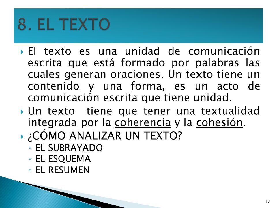 El texto es una unidad de comunicación escrita que está formado por palabras las cuales generan oraciones. Un texto tiene un contenido y una forma, es