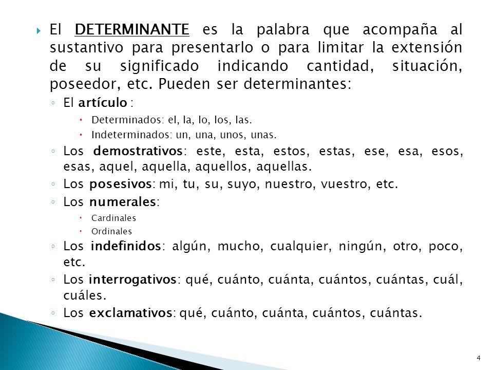 El DETERMINANTE es la palabra que acompaña al sustantivo para presentarlo o para limitar la extensión de su significado indicando cantidad, situación,