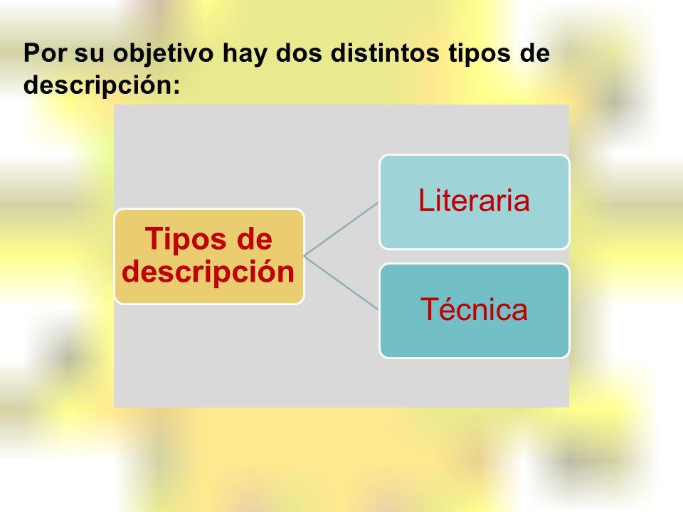 Por su objetivo hay dos distintos tipos de descripción: Tipos de descripción LiterariaTécnica