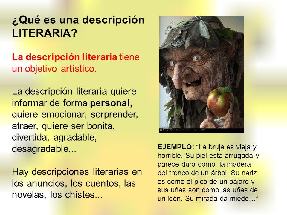 ¿Qué es una descripción LITERARIA? La descripción literaria tiene un objetivo artístico. La descripción literaria quiere informar de forma personal, q