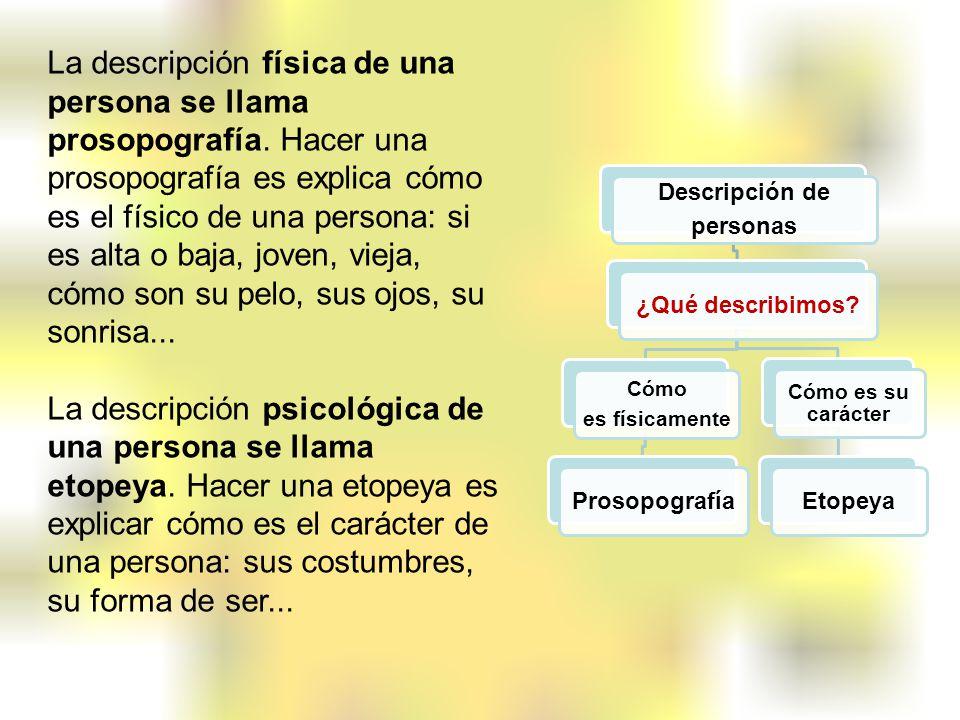La descripción física de una persona se llama prosopografía. Hacer una prosopografía es explica cómo es el físico de una persona: si es alta o baja, j