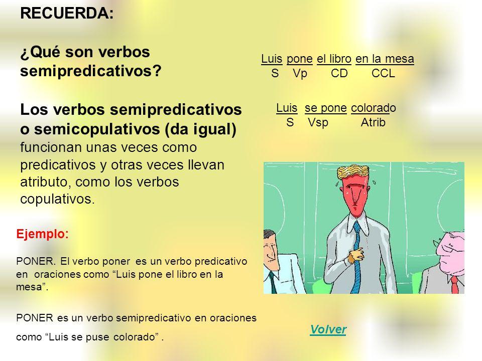 RECUERDA: ¿Qué son verbos semipredicativos? Los verbos semipredicativos o semicopulativos (da igual) funcionan unas veces como predicativos y otras ve