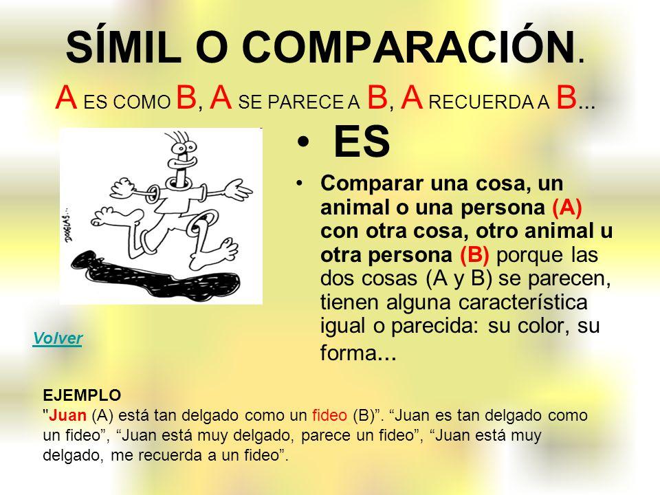 SÍMIL O COMPARACIÓN. A ES COMO B, A SE PARECE A B, A RECUERDA A B... ES Comparar una cosa, un animal o una persona (A) con otra cosa, otro animal u ot