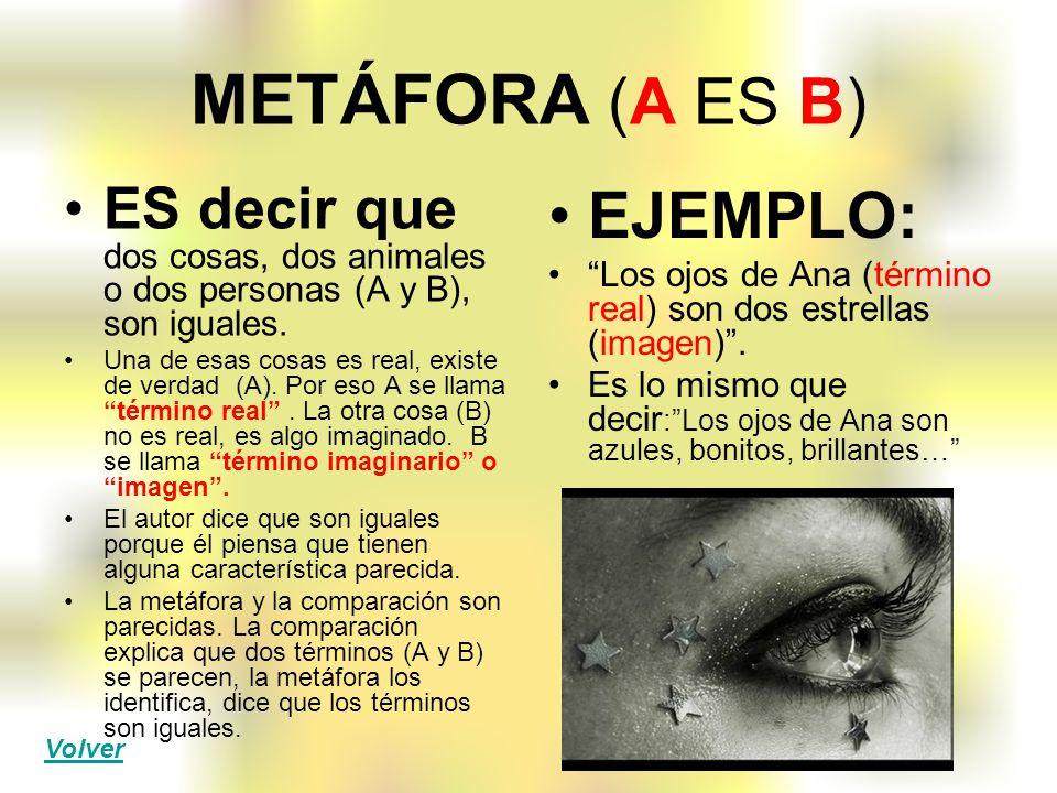 METÁFORA (A ES B) ES decir que dos cosas, dos animales o dos personas (A y B), son iguales. Una de esas cosas es real, existe de verdad (A). Por eso A