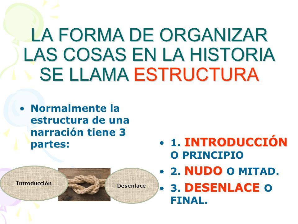 LA FORMA DE ORGANIZAR LAS COSAS EN LA HISTORIA SE LLAMA ESTRUCTURA Normalmente la estructura de una narración tiene 3 partes: INTRODUCCIÓN1. INTRODUCC