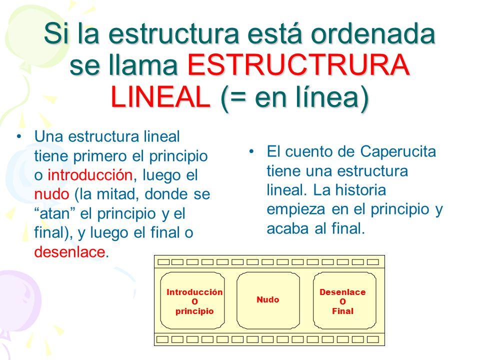 Si la estructura está ordenada se llama ESTRUCTRURA LINEAL (= en línea) Una estructura lineal tiene primero el principio o introducción, luego el nudo