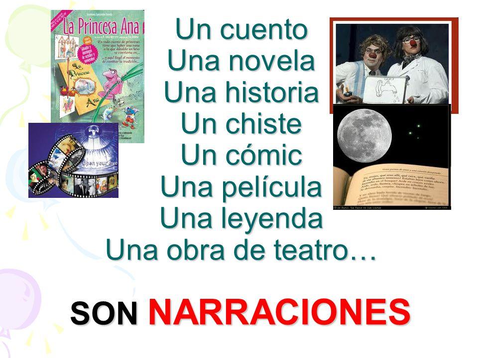 Un cuento Una novela Una historia Un chiste Un cómic Una película Una leyenda Una obra de teatro… SON NARRACIONES