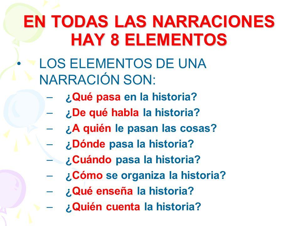 EN TODAS LAS NARRACIONES HAY 8 ELEMENTOS LOS ELEMENTOS DE UNA NARRACIÓN SON: –¿Qué pasa en la historia? –¿De qué habla la historia? –¿A quién le pasan