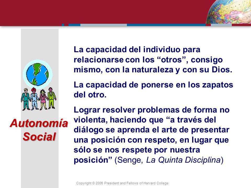 Copyright © 2008 President and Fellows of Harvard College Es la capacidad de actuar de acuerdo con ideales y principios morales construidos socialmente por cada individuo y compartidos por una comunidad.