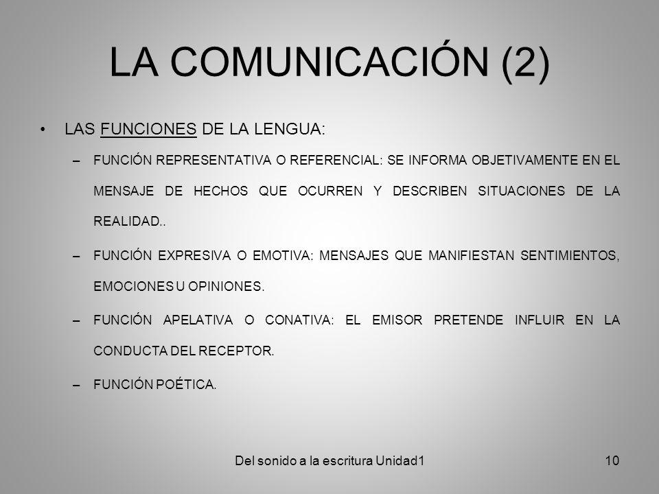 LA COMUNICACIÓN (2) LAS FUNCIONES DE LA LENGUA: –FUNCIÓN REPRESENTATIVA O REFERENCIAL: SE INFORMA OBJETIVAMENTE EN EL MENSAJE DE HECHOS QUE OCURREN Y