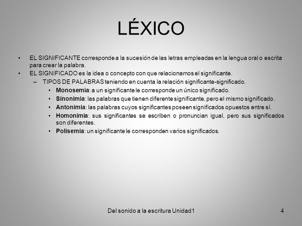 LÉXICO EL SIGNIFICANTE corresponde a la sucesión de las letras empleadas en la lengua oral o escrita para crear la palabra. EL SIGNIFICADO es la idea