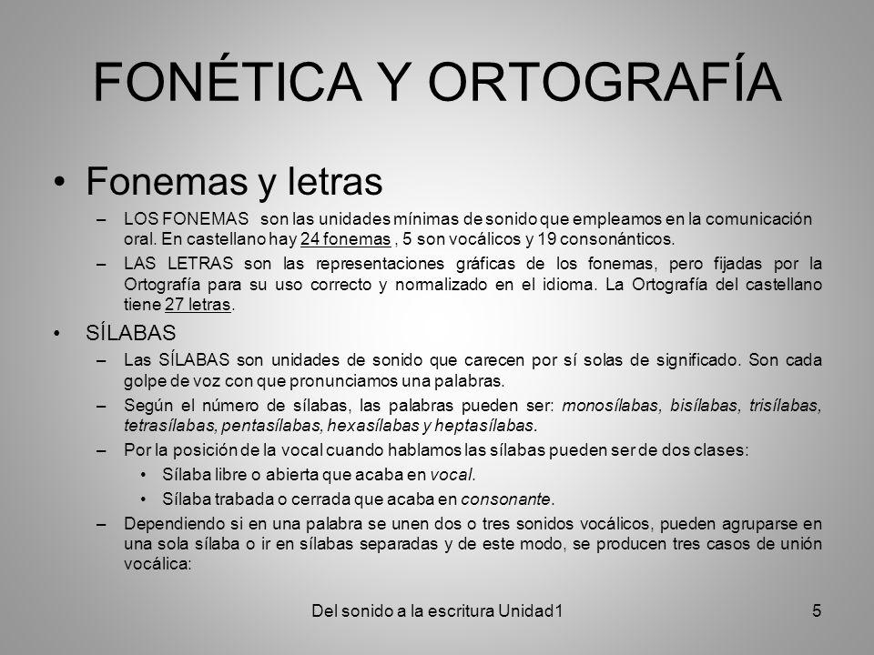 FONÉTICA Y ORTOGRAFÍA Fonemas y letras –LOS FONEMAS son las unidades mínimas de sonido que empleamos en la comunicación oral. En castellano hay 24 fon