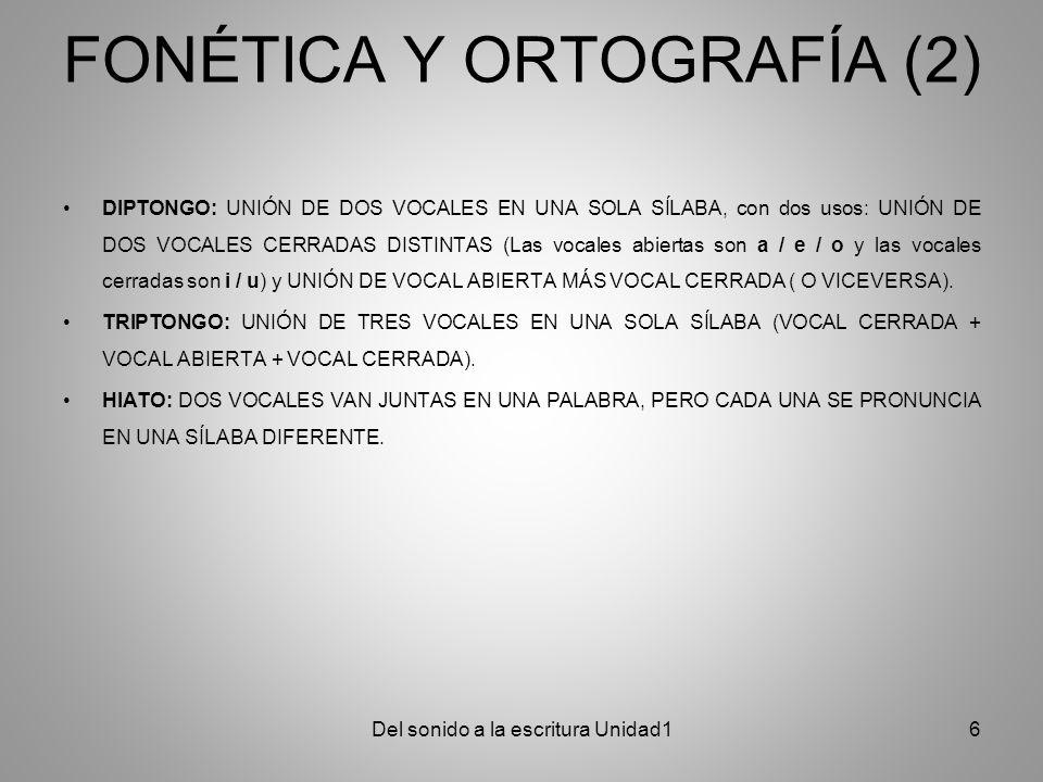 FONÉTICA Y ORTOGRAFÍA (2) DIPTONGO: UNIÓN DE DOS VOCALES EN UNA SOLA SÍLABA, con dos usos: UNIÓN DE DOS VOCALES CERRADAS DISTINTAS (Las vocales abiert