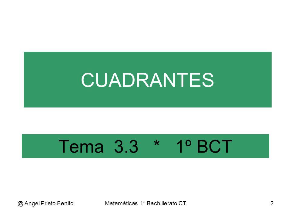 @ Angel Prieto BenitoMatemáticas 1º Bachillerato CT3 Ángulos y Cuadrantes 0 rad Cuad.