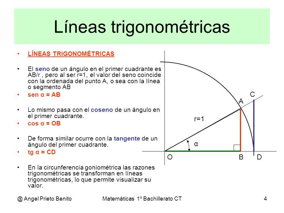 @ Angel Prieto BenitoMatemáticas 1º Bachillerato CT5 RAZONES EN EL PRIMER CUADRANTE Se puede ver que al aumentar al ángulo, de 0º a 90º, el valor del seno (en color rojo) aumenta de 0 a 1.
