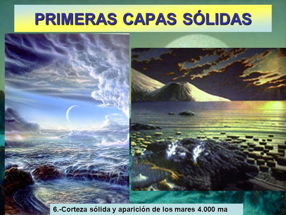 PRIMERAS CAPAS SÓLIDAS 6.-Corteza sólida y aparición de los mares 4.000 ma