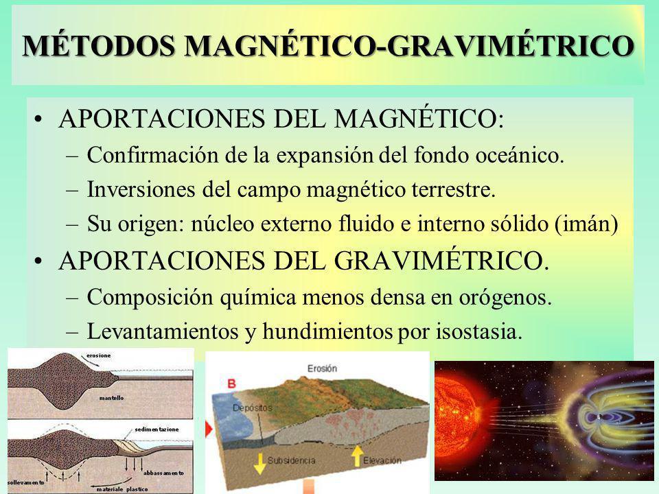 MÉTODOS MAGNÉTICO-GRAVIMÉTRICO APORTACIONES DEL MAGNÉTICO: –Confirmación de la expansión del fondo oceánico.