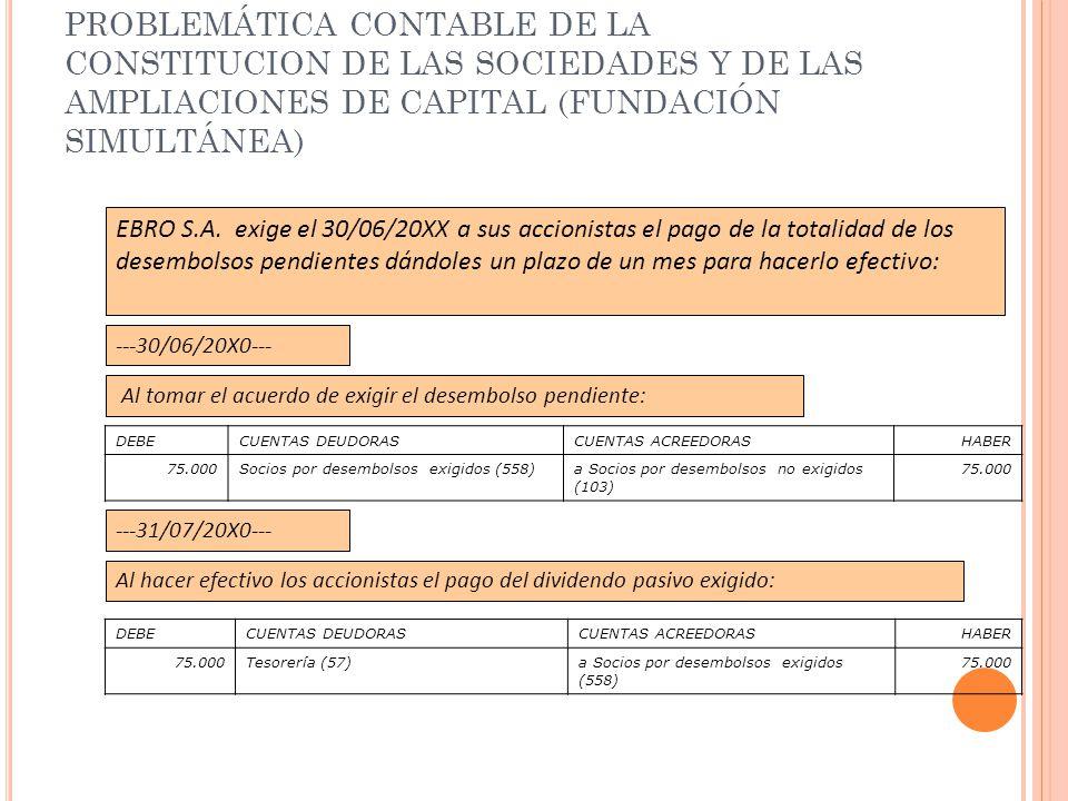 PROBLEMÁTICA CONTABLE DE LA CONSTITUCION DE LAS SOCIEDADES Y DE LAS AMPLIACIONES DE CAPITAL (FUNDACIÓN SIMULTÁNEA) EBRO S.A. exige el 30/06/20XX a sus