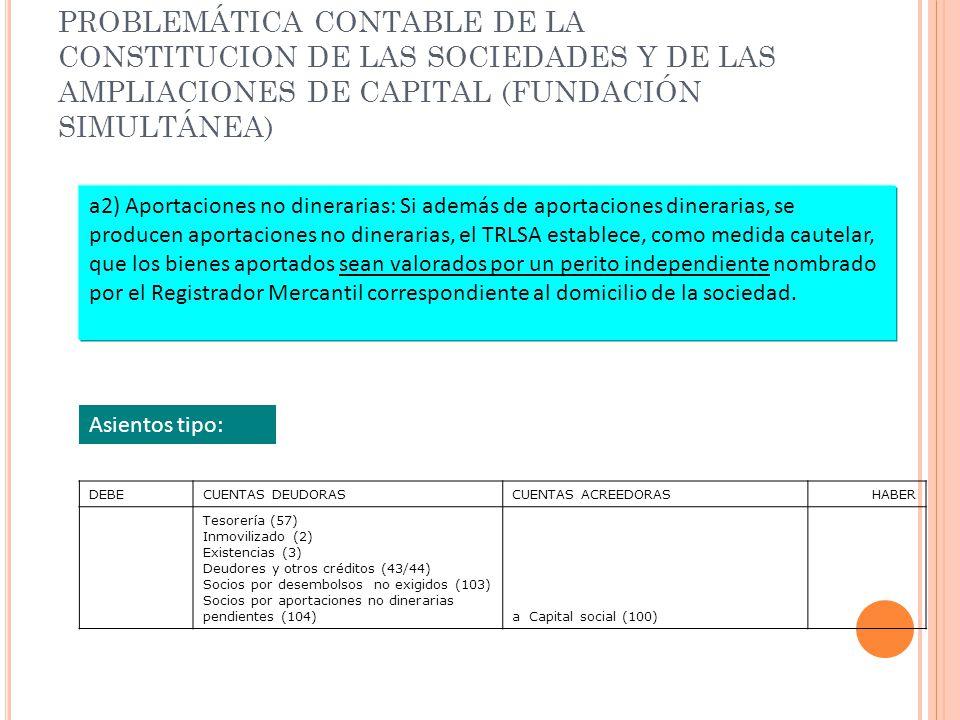 PROBLEMÁTICA CONTABLE DE LA CONSTITUCION DE LAS SOCIEDADES Y DE LAS AMPLIACIONES DE CAPITAL (FUNDACIÓN SIMULTÁNEA) a2) Aportaciones no dinerarias: Si