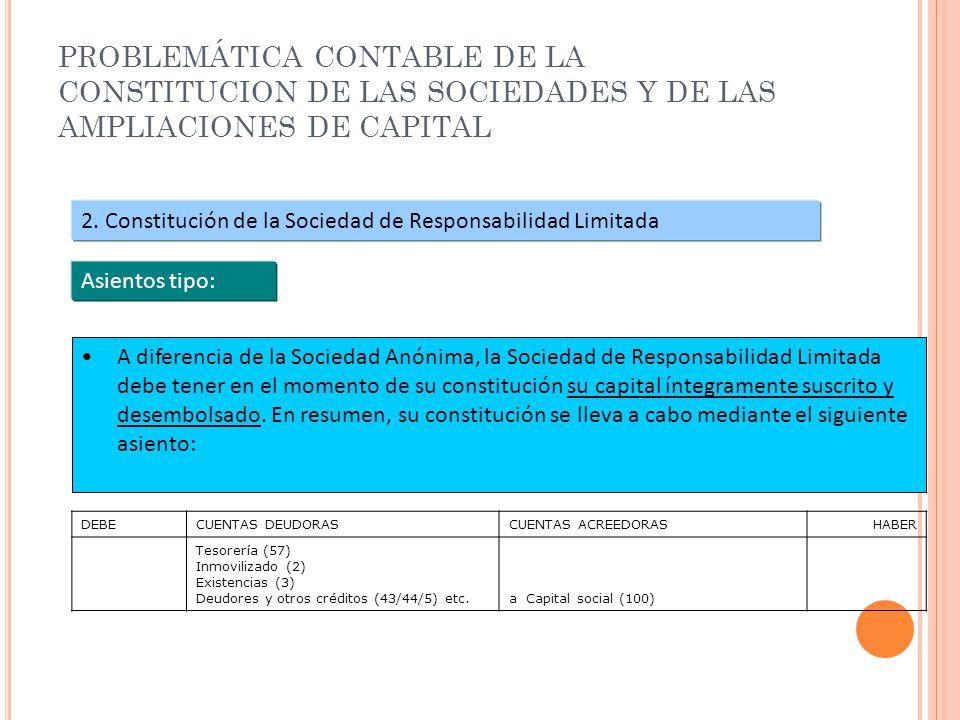 PROBLEMÁTICA CONTABLE DE LA CONSTITUCION DE LAS SOCIEDADES Y DE LAS AMPLIACIONES DE CAPITAL 2. Constitución de la Sociedad de Responsabilidad Limitada