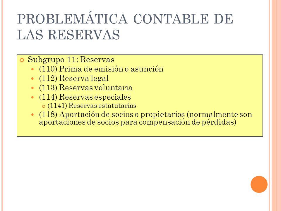 PROBLEMÁTICA CONTABLE DE LAS RESERVAS Subgrupo 11: Reservas (110) Prima de emisión o asunción (112) Reserva legal (113) Reservas voluntaria (114) Rese