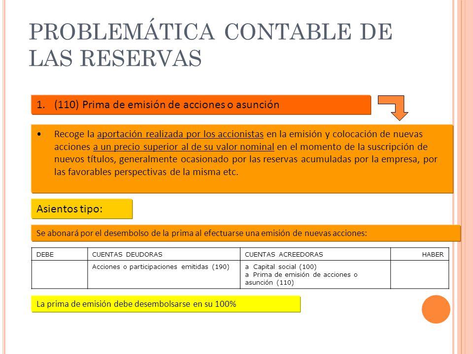 PROBLEMÁTICA CONTABLE DE LAS RESERVAS 1.(110) Prima de emisión de acciones o asunción Recoge la aportación realizada por los accionistas en la emisión