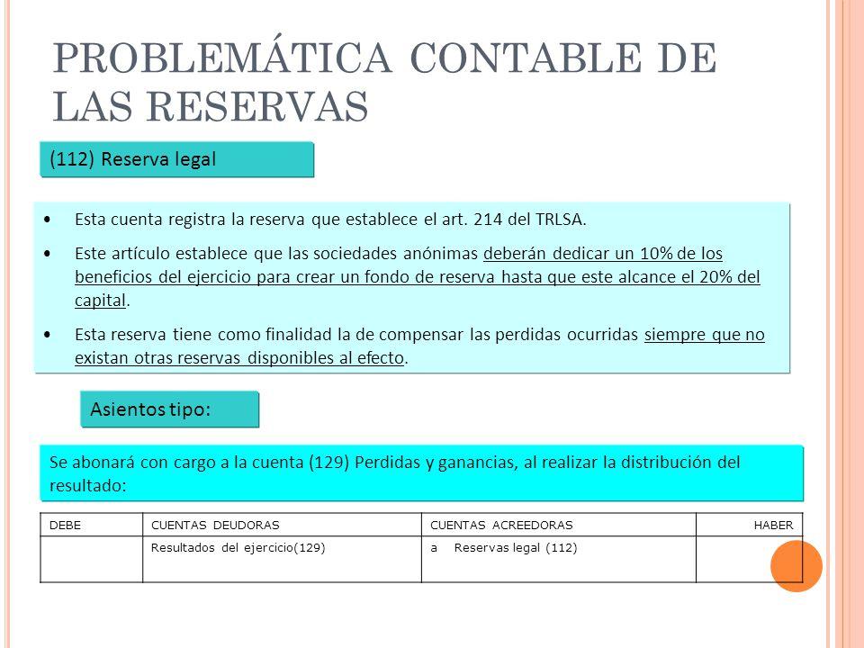 PROBLEMÁTICA CONTABLE DE LAS RESERVAS (112) Reserva legal Esta cuenta registra la reserva que establece el art. 214 del TRLSA. Este artículo establece
