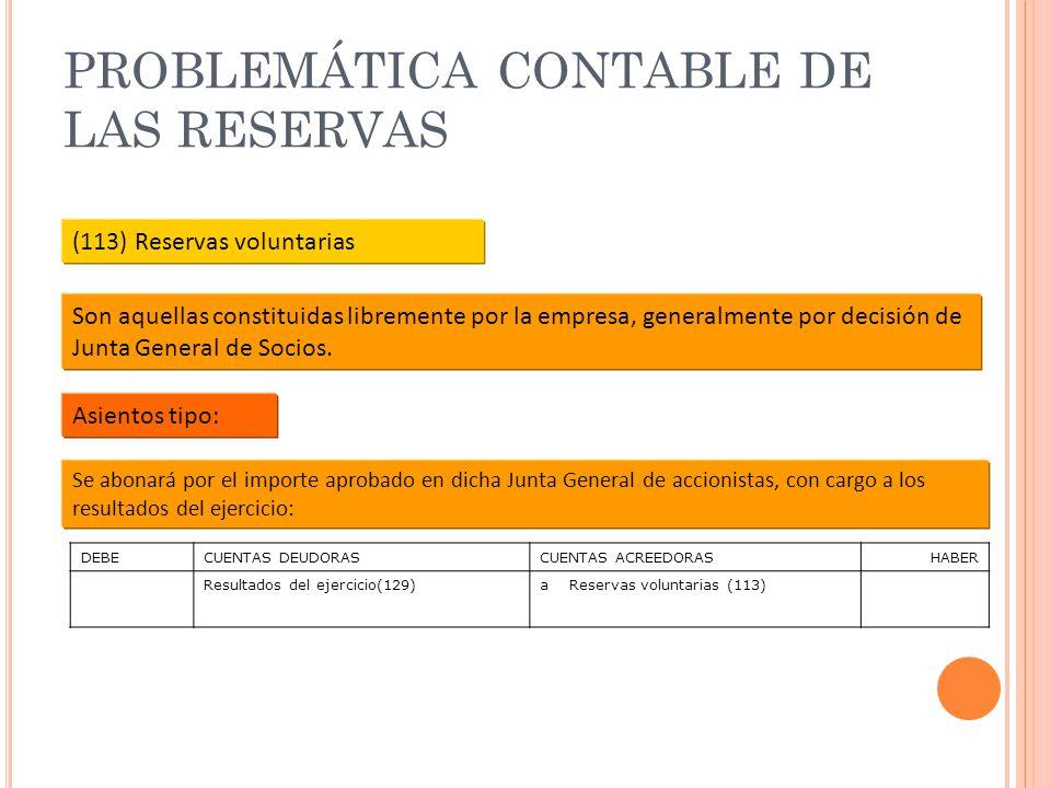 PROBLEMÁTICA CONTABLE DE LAS RESERVAS (113) Reservas voluntarias Son aquellas constituidas libremente por la empresa, generalmente por decisión de Jun