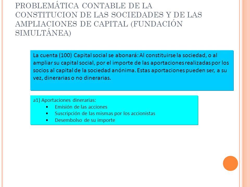PROBLEMÁTICA CONTABLE DE LA CONSTITUCION DE LAS SOCIEDADES Y DE LAS AMPLIACIONES DE CAPITAL (FUNDACIÓN SIMULTÁNEA) La cuenta (100) Capital social se a