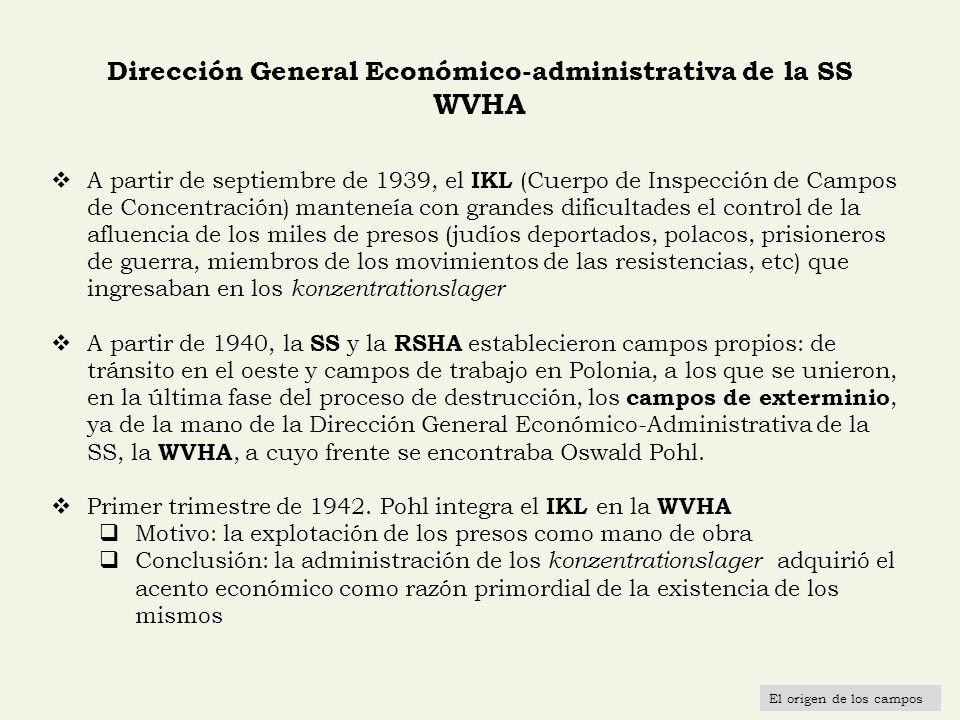 Dirección General Económico-administrativa de la SS WVHA A partir de septiembre de 1939, el IKL (Cuerpo de Inspección de Campos de Concentración) mant