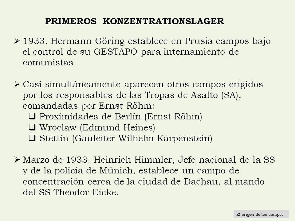 PRIMEROS KONZENTRATIONSLAGER 1933. Hermann Göring establece en Prusia campos bajo el control de su GESTAPO para internamiento de comunistas Casi simul