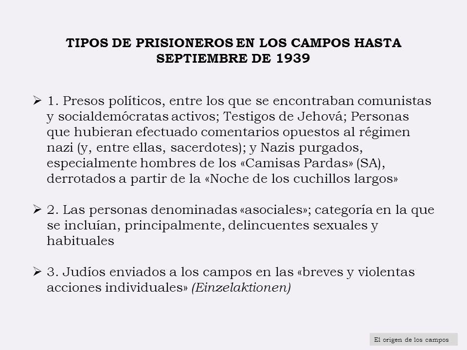 TIPOS DE PRISIONEROS EN LOS CAMPOS HASTA SEPTIEMBRE DE 1939 1. Presos políticos, entre los que se encontraban comunistas y socialdemócratas activos; T