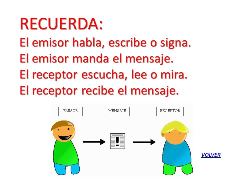 RECUERDA: El emisor habla, escribe o signa. El emisor manda el mensaje. El receptor escucha, lee o mira. El receptor recibe el mensaje. VOLVER
