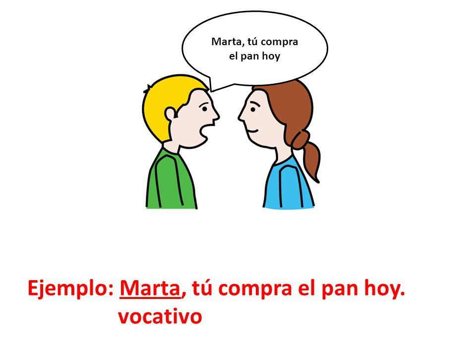 Ejemplo: Marta, tú compra el pan hoy. vocativo Marta, tú compra el pan hoy