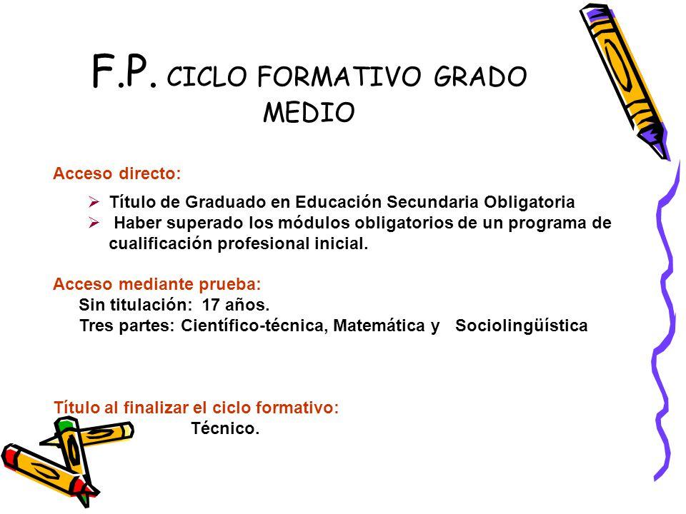 F.P. CICLO FORMATIVO GRADO MEDIO Acceso directo: Título de Graduado en Educación Secundaria Obligatoria Haber superado los módulos obligatorios de un