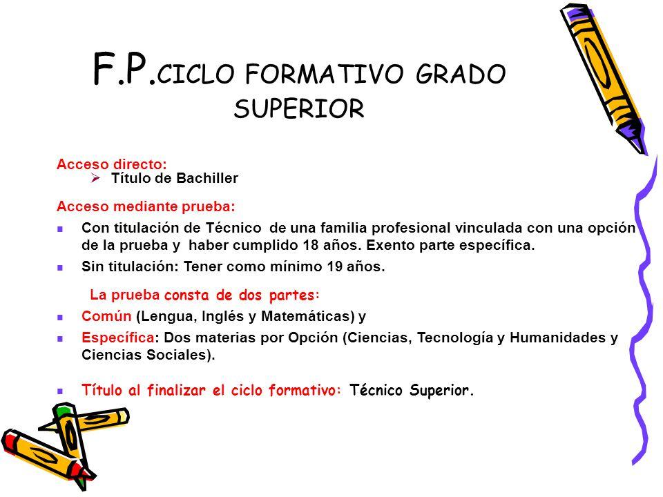 F.P. CICLO FORMATIVO GRADO SUPERIOR Acceso directo: Título de Bachiller Acceso mediante prueba: Con titulación de Técnico de una familia profesional v