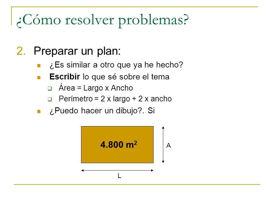 1.Entender el problema: Extraemos los datos expresándolos en frases sencillas. Rectángulo de perímetro 280 Superficie 4.800 m 2. Obtener lo que me pre