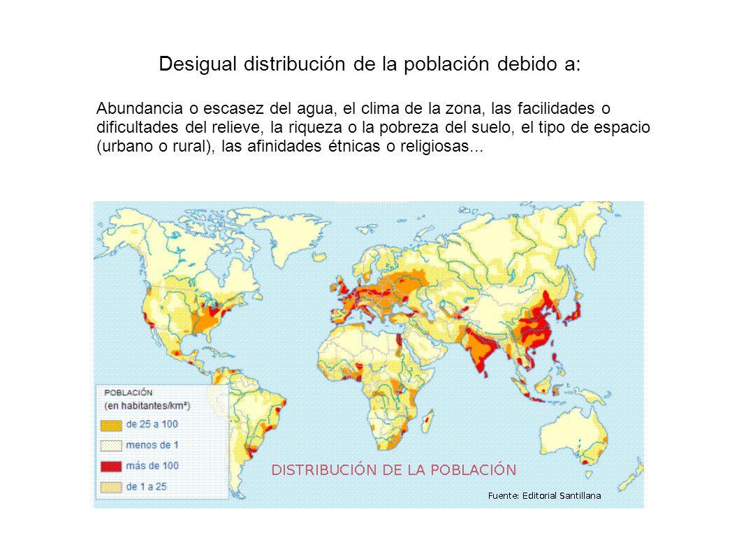 Desigual distribución de la población debido a: Abundancia o escasez del agua, el clima de la zona, las facilidades o dificultades del relieve, la riq