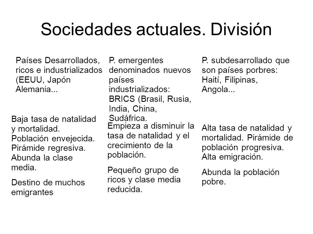 Sociedades actuales. División Países Desarrollados, ricos e industrializados (EEUU, Japón Alemania... P. emergentes denominados nuevos países industri