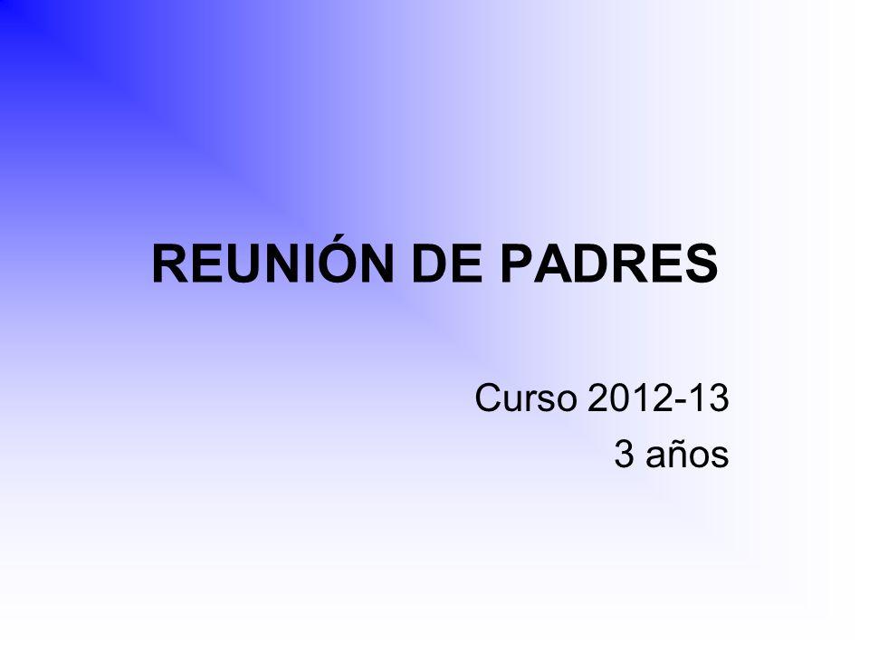 REUNIÓN DE PADRES Curso 2012-13 3 años