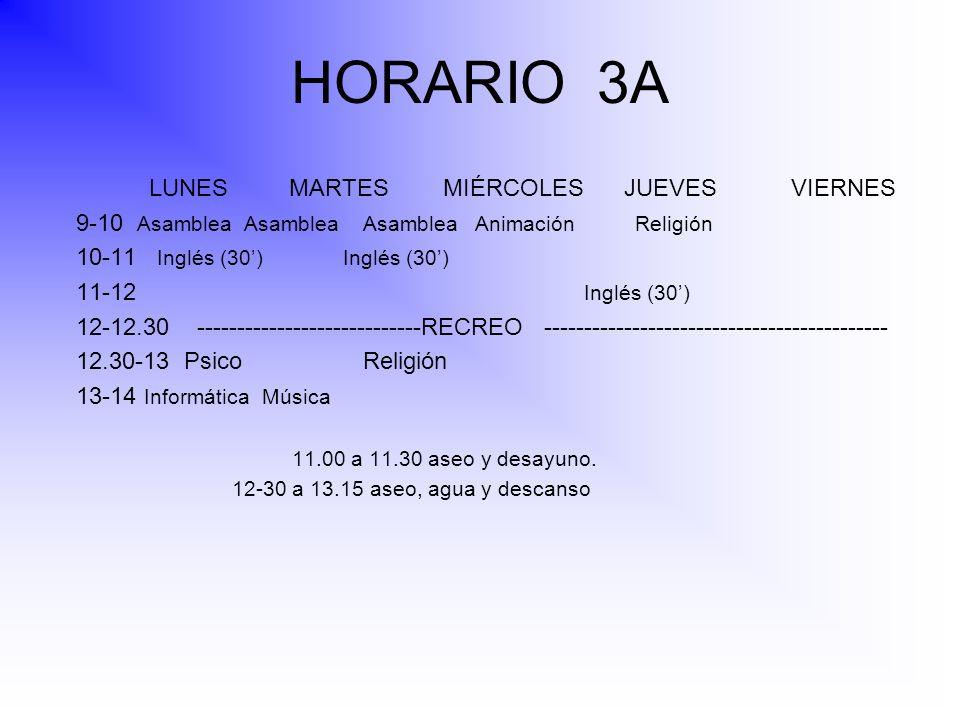 HORARIO 3A LUNES MARTES MIÉRCOLES JUEVES VIERNES 9-10 Asamblea Asamblea Asamblea Animación Religión 10-11 Inglés (30) Inglés (30) 11-12 Inglés (30) 12