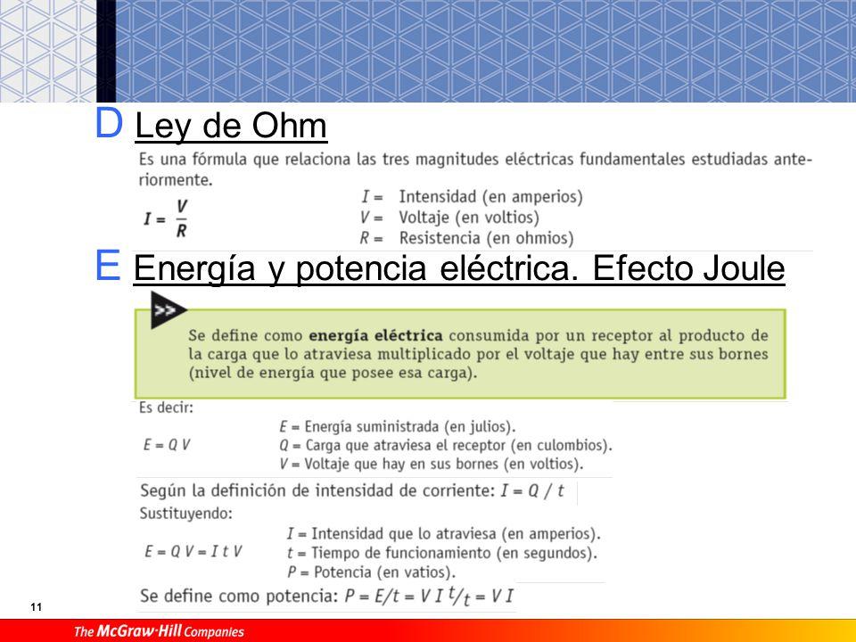 11 D Ley de Ohm E Energía y potencia eléctrica. Efecto Joule