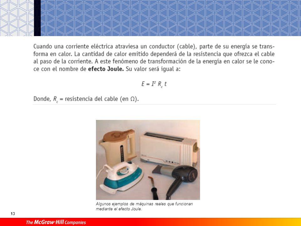 13 Algunos ejemplos de máquinas reales que funcionan mediante el efecto Joule.