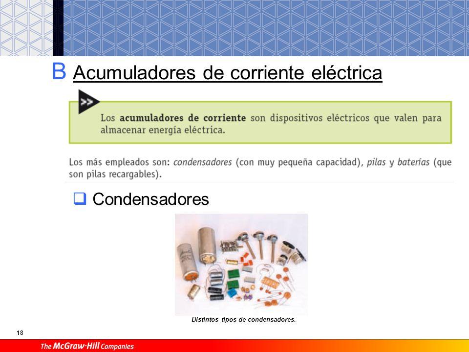 18 B Acumuladores de corriente eléctrica Condensadores Distintos tipos de condensadores.