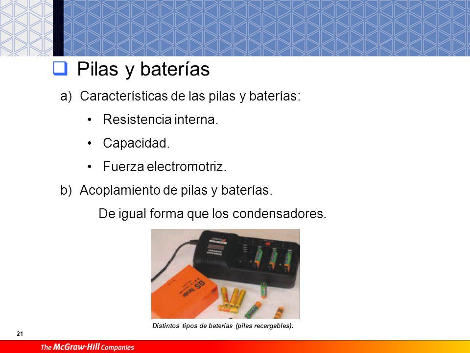 21 Pilas y baterías a)Características de las pilas y baterías: Resistencia interna. Capacidad. Fuerza electromotriz. b)Acoplamiento de pilas y batería