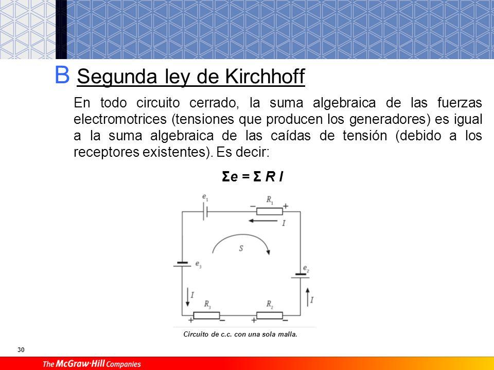 30 B Segunda ley de Kirchhoff En todo circuito cerrado, la suma algebraica de las fuerzas electromotrices (tensiones que producen los generadores) es igual a la suma algebraica de las caídas de tensión (debido a los receptores existentes).