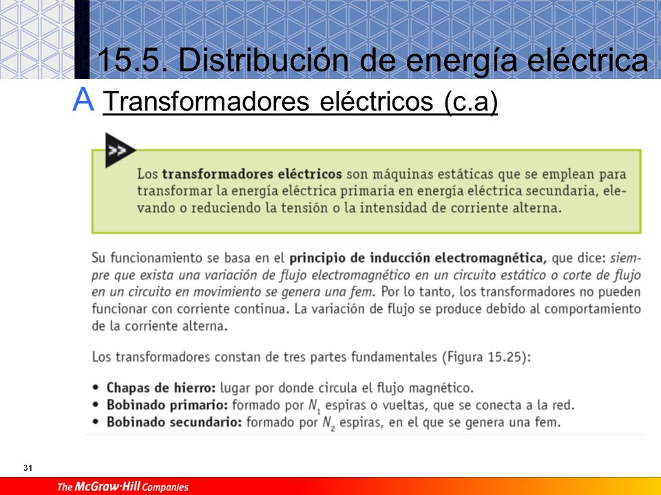 31 15.5. Distribución de energía eléctrica A Transformadores eléctricos (c.a)