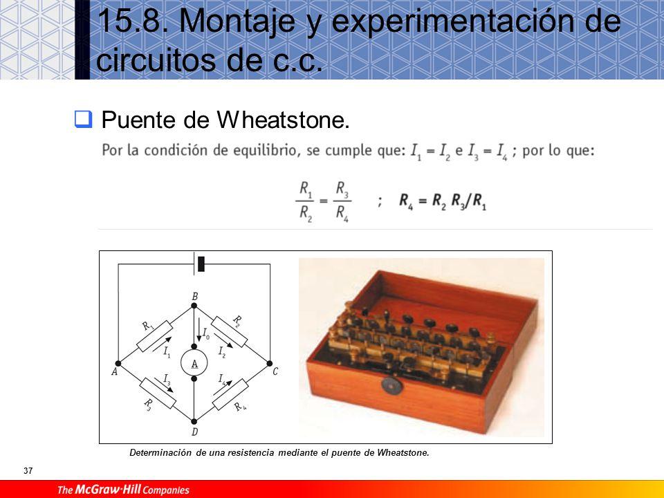 37 15.8. Montaje y experimentación de circuitos de c.c. Puente de Wheatstone. Determinación de una resistencia mediante el puente de Wheatstone.