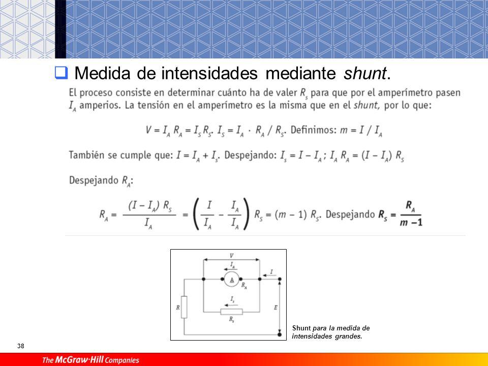 38 Medida de intensidades mediante shunt. Shunt para la medida de intensidades grandes.